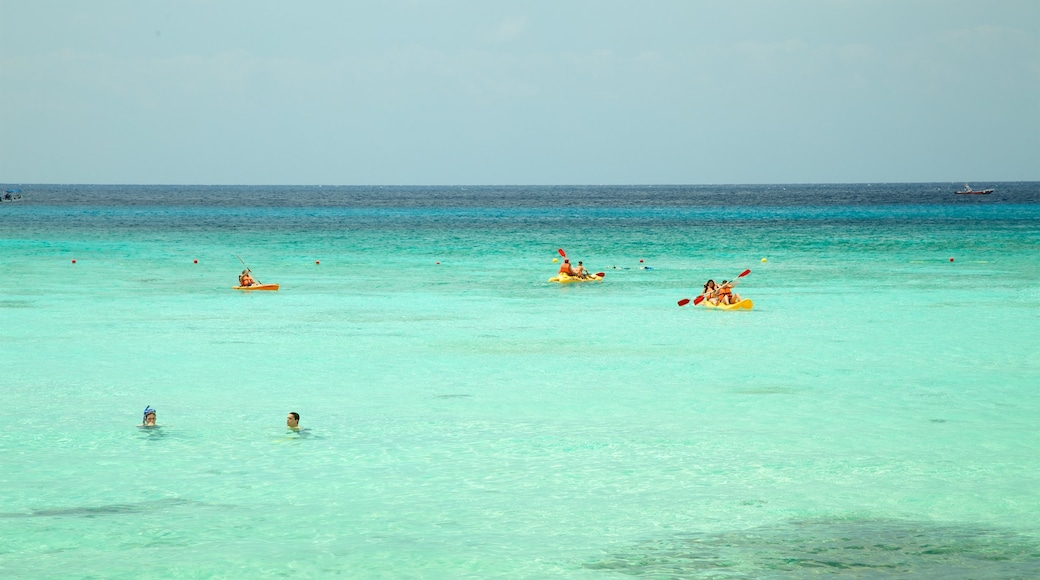 Palancar Beach showing swimming, general coastal views and kayaking or canoeing