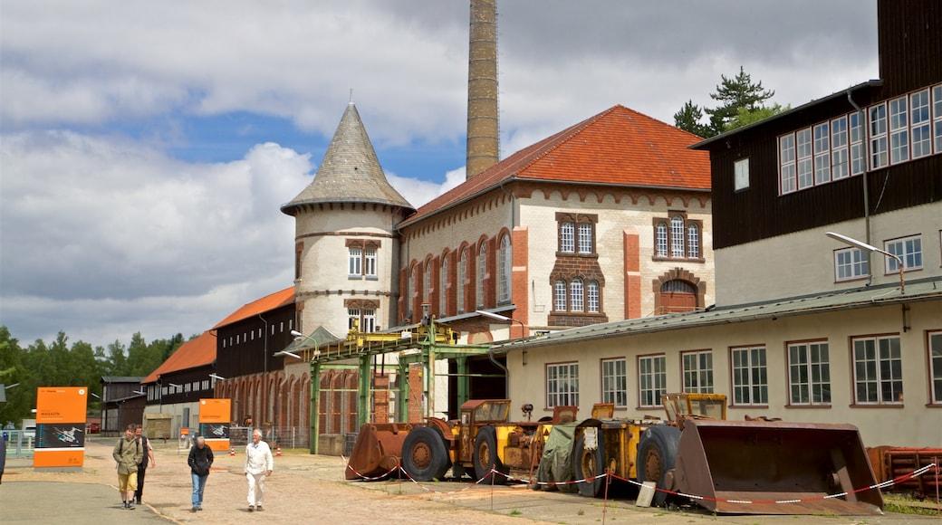 Rammelsberg Mine and Mining Museum mit einem Straßenszenen und Geschichtliches sowie kleine Menschengruppe