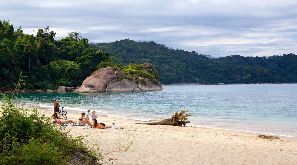 Praia do Laboratorio welches beinhaltet allgemeine Küstenansicht und Strand sowie Familie