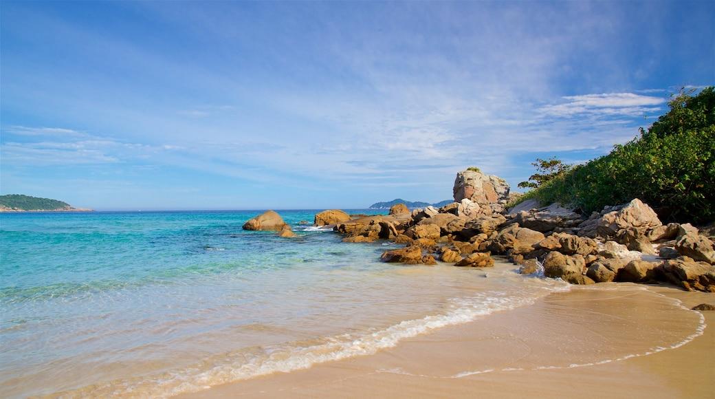 Strand von Lopes Mendes das einen Sandstrand, Felsküste und allgemeine Küstenansicht