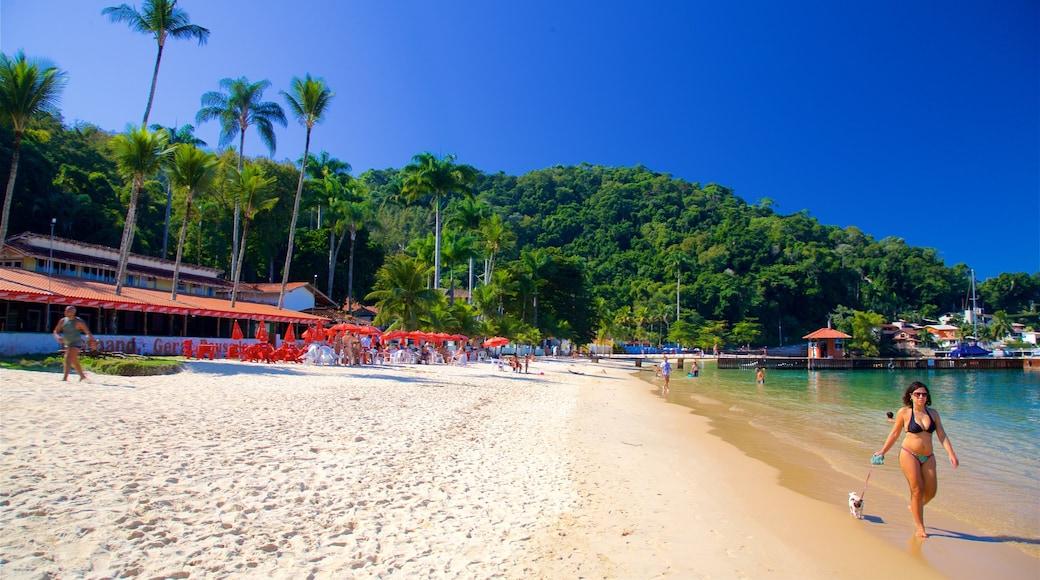 Angra dos Reis welches beinhaltet Sandstrand, allgemeine Küstenansicht und Bucht oder Hafen