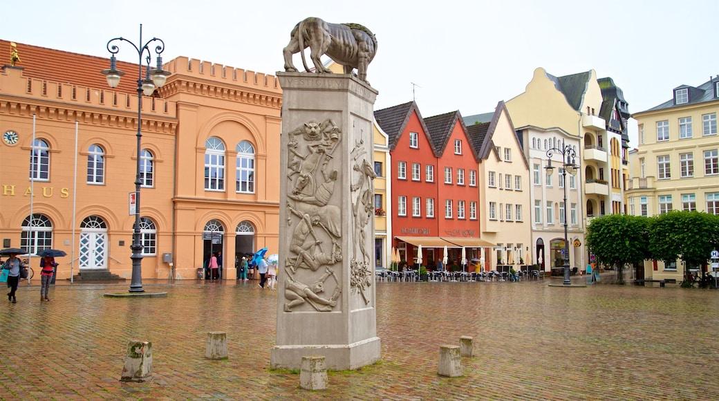 Schwerin joka esittää tori, kaupunki ja patsas tai veistos