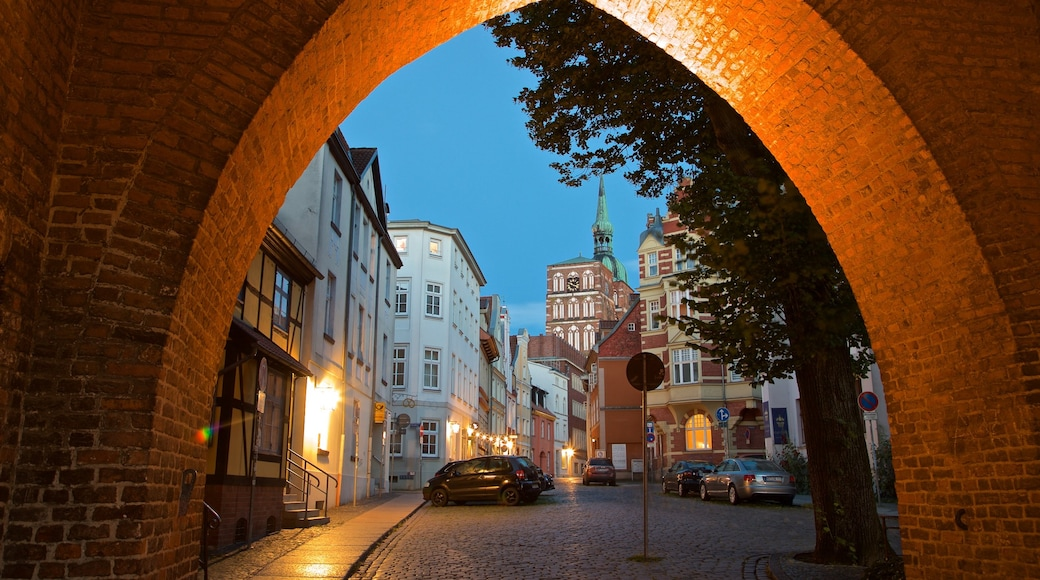 Stralsund featuring heritage elements and night scenes