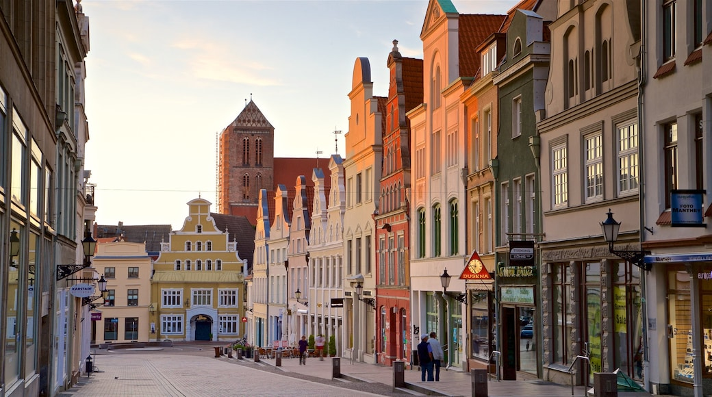 Wismar which includes a city, heritage elements and a sunset