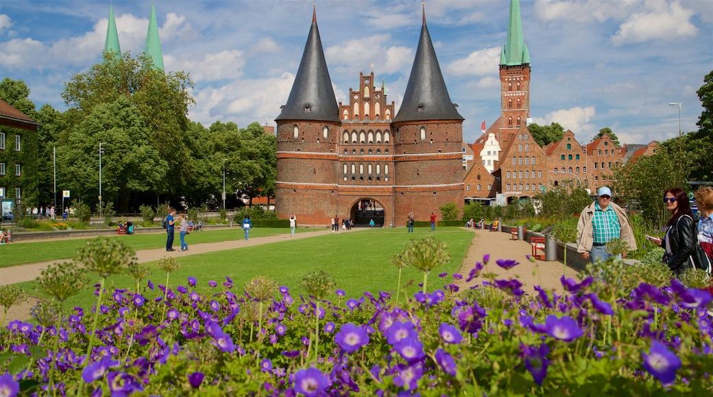 Museum Holstentor mit einem historische Architektur und Wildblumen sowie kleine Menschengruppe