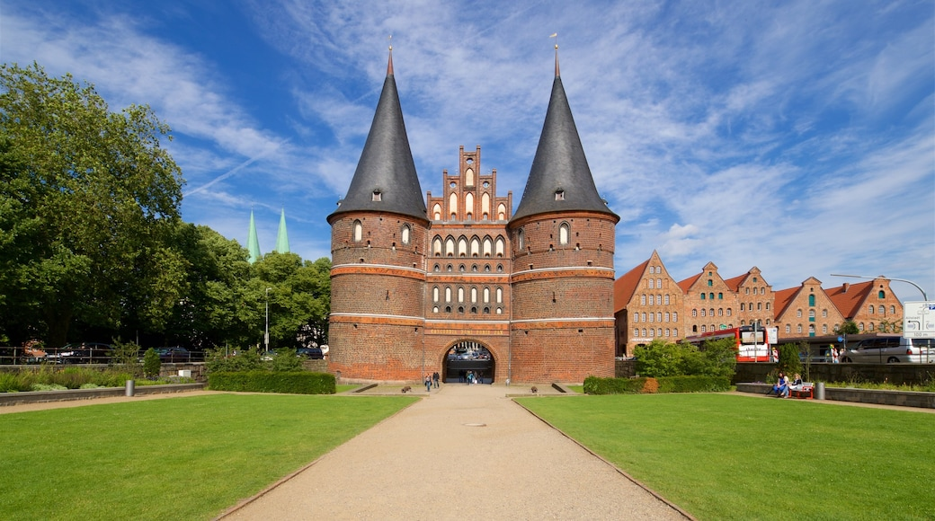 Museum Holstentor showing a park and heritage architecture