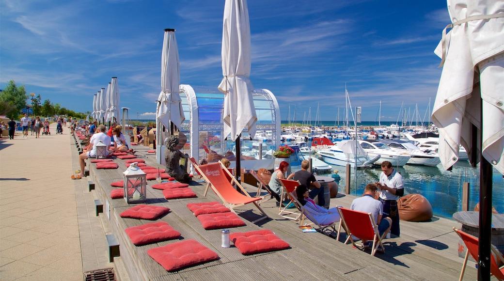 Yachthafen von Kühlungsborn welches beinhaltet Bucht oder Hafen sowie kleine Menschengruppe