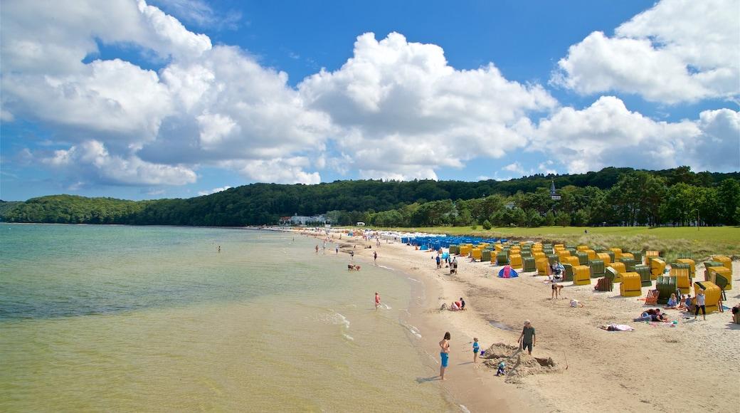 Plage de Binz qui includes plage de sable et vues littorales aussi bien que petit groupe de personnes