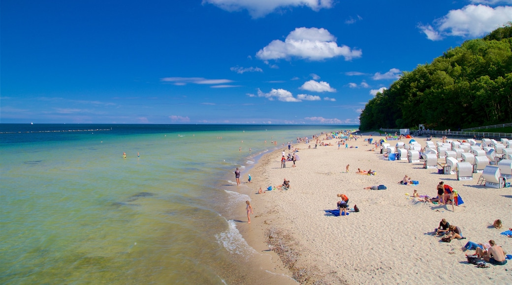 Jetée de Sellin mettant en vedette vues littorales et plage aussi bien que petit groupe de personnes