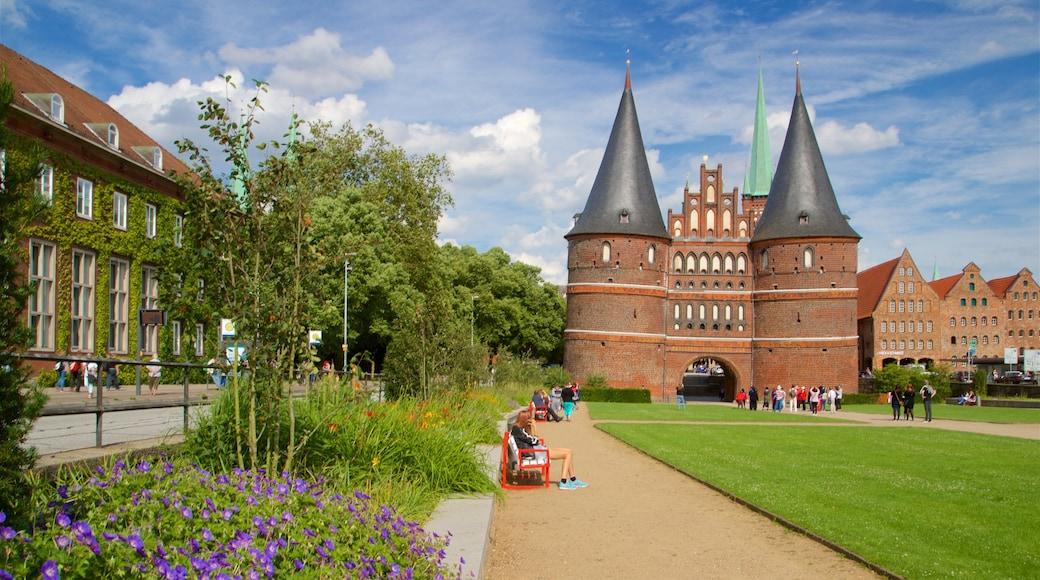 Museum Holstentor welches beinhaltet Garten, historische Architektur und Wildblumen