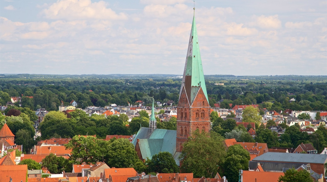 Petrikirche which includes a city, tranquil scenes and heritage architecture