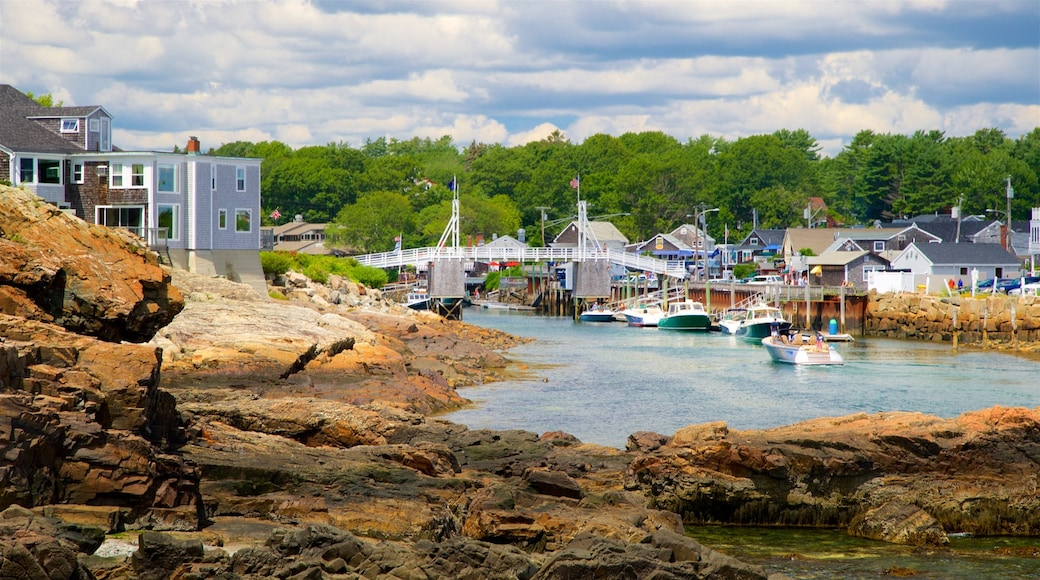 Ogunquit showing rugged coastline, a small town or village and general coastal views