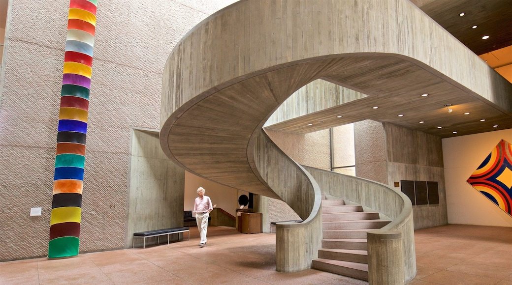 Everson Museum of Art showing interior views and art as well as an individual female