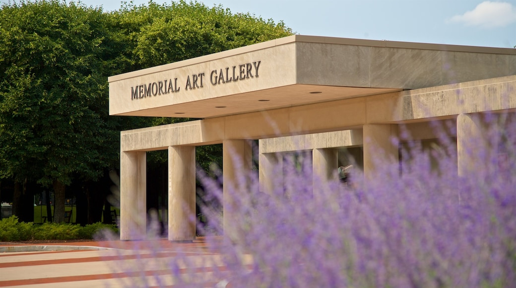 Memorial Art Gallery showing signage and wild flowers