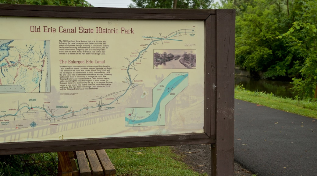 Old Erie Canal Historic State Park featuring signage