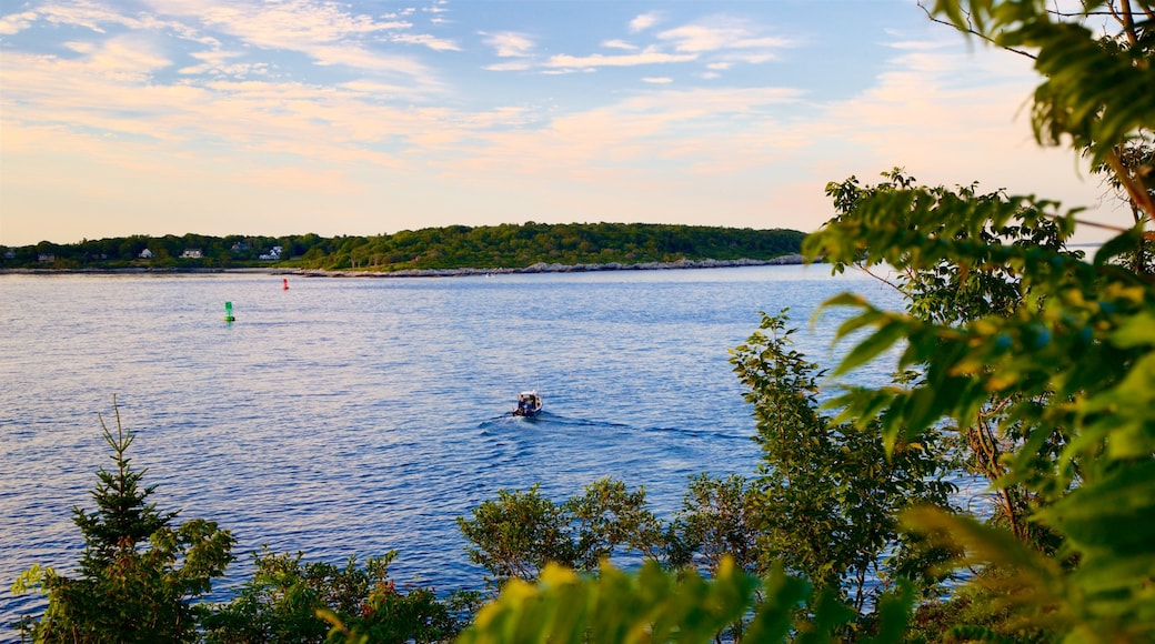 Fort Williams Park which includes boating, a sunset and a lake or waterhole