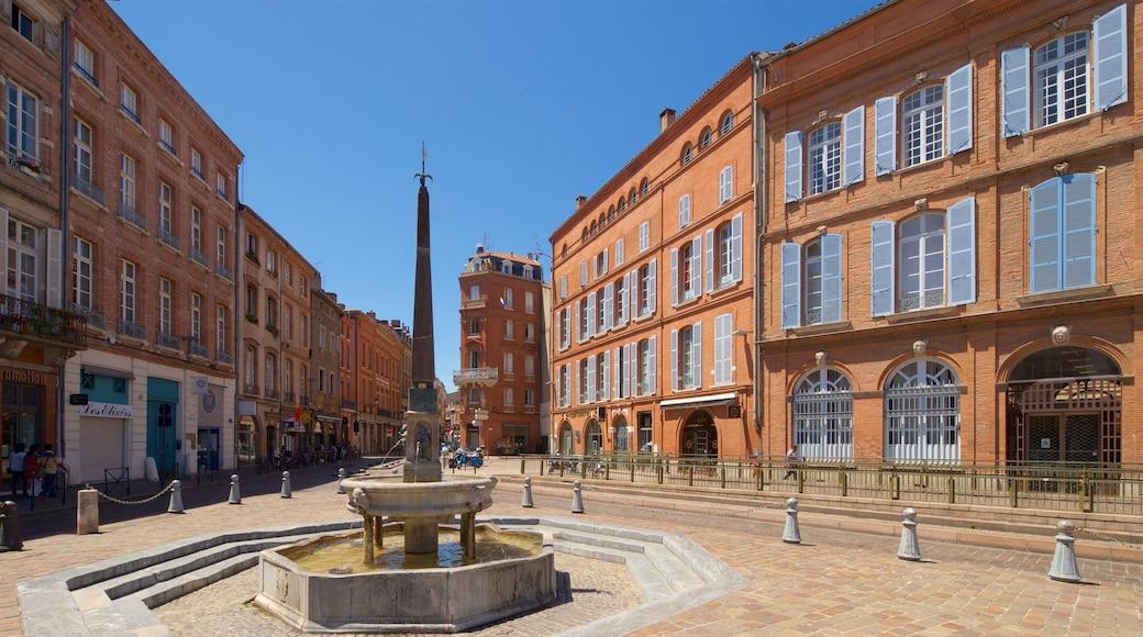 Cathédrale Saint-Etienne mettant en vedette fontaine et ville
