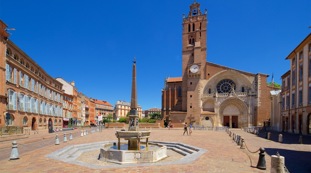 Saint Etienne Cathedrale featuring a church or cathedral, heritage architecture and a fountain