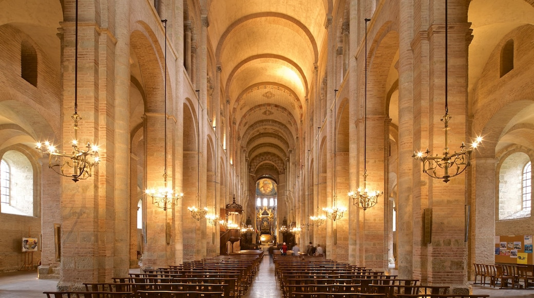 Basilique Saint-Sernin showing a church or cathedral, heritage elements and interior views