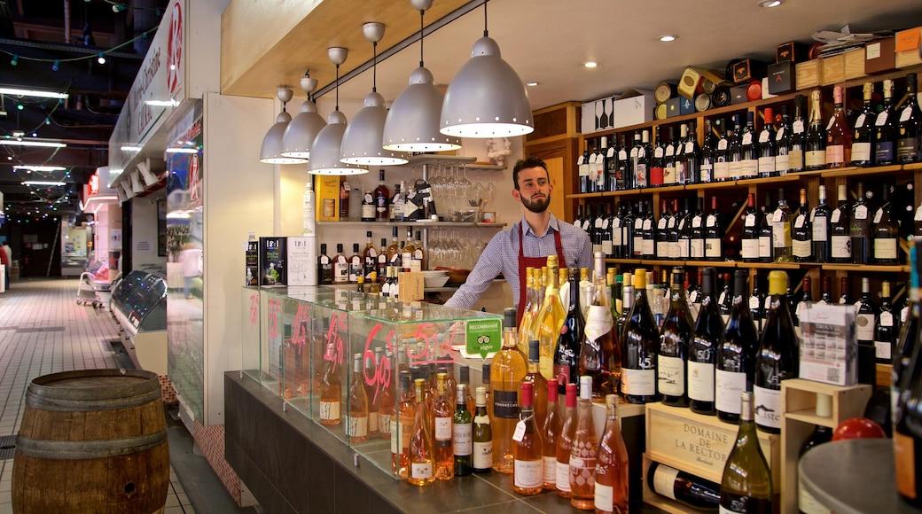 Quartier Victor Hugo montrant boissons, marchés et vues intérieures