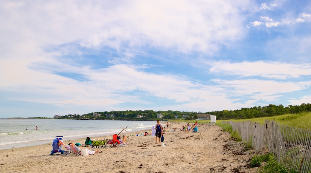 Scarborough Beach State Park featuring a beach and general coastal views as well as a small group of people