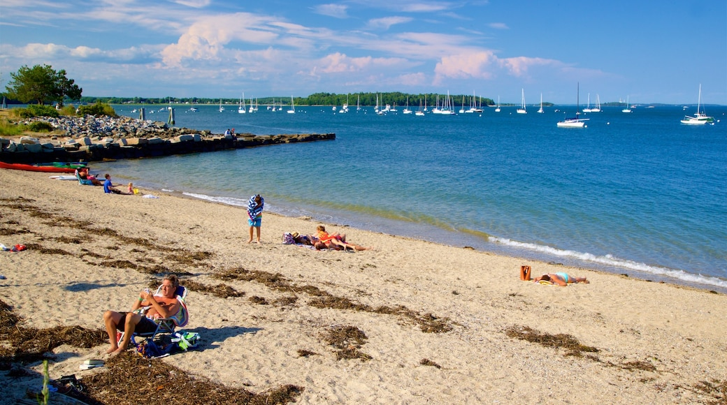 East End Beach which includes a bay or harbor, a beach and general coastal views