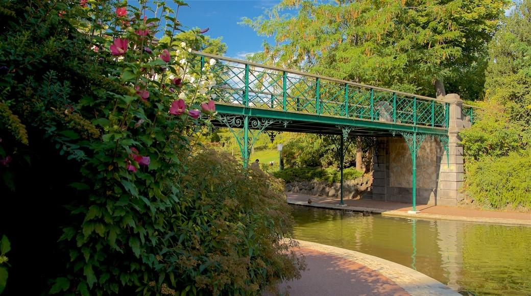 Jardin Lecoq featuring a river or creek and a bridge