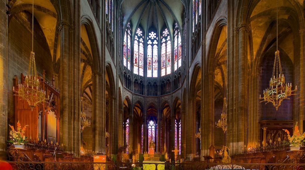 Cathédrale de Clermont-Ferrand mettant en vedette vues intérieures, patrimoine historique et église ou cathédrale