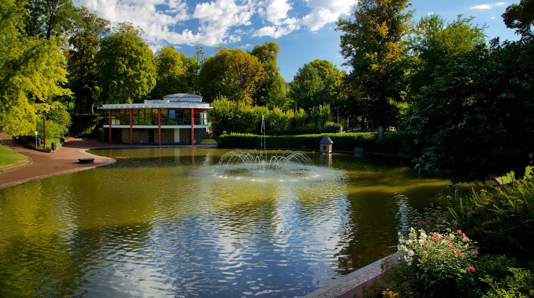 Jardin Lecoq showing a fountain and a pond
