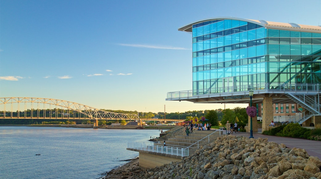 Dubuque featuring a sunset, a bridge and a river or creek