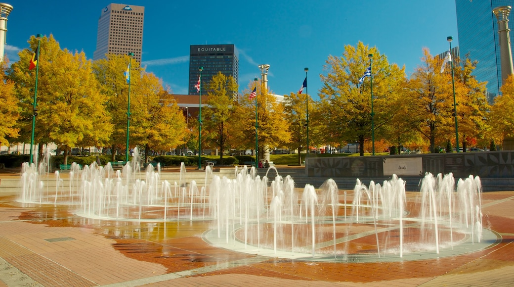 Centennial Olympic Park which includes a fountain, a square or plaza and a park