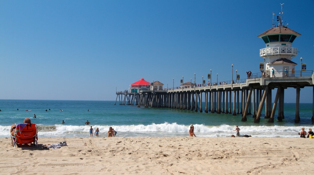 Huntington Beach which includes a marina, landscape views and a lighthouse