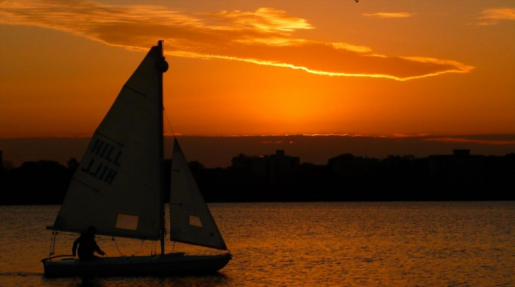 Lake Calhoun which includes night scenes, sailing and a sunset
