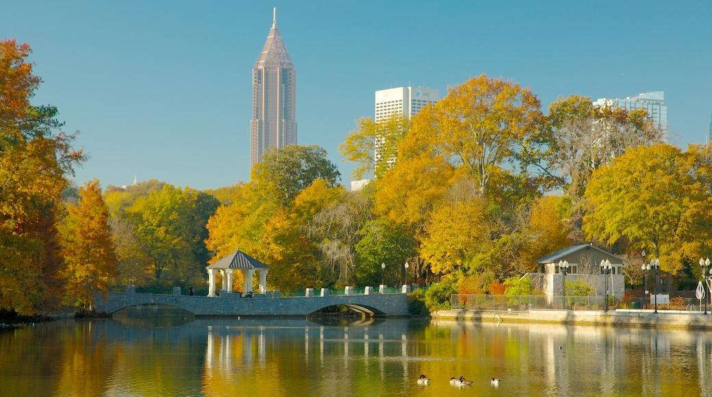 Piedmont Park showing a bridge, autumn colours and a city