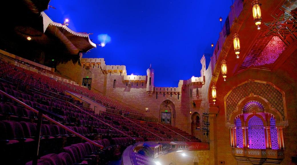 Fox Theatre featuring theater scenes and night scenes