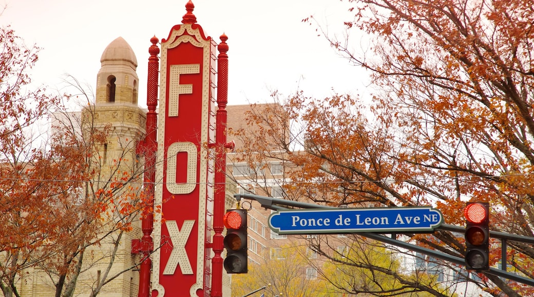 Fox Theatre featuring autumn leaves, signage and theater scenes