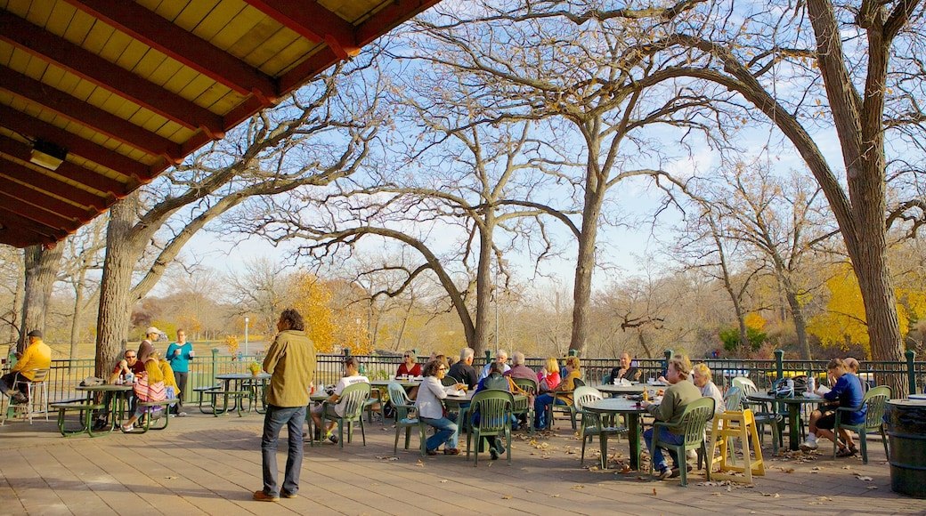 Minnehaha Park which includes outdoor eating as well as a small group of people