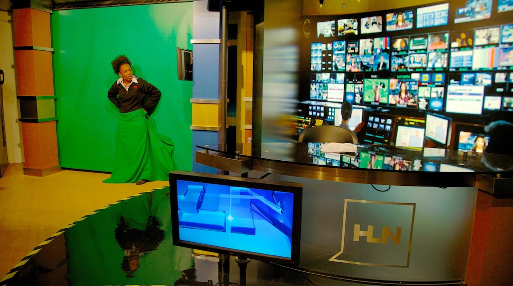CNN Center showing interior views as well as an individual female