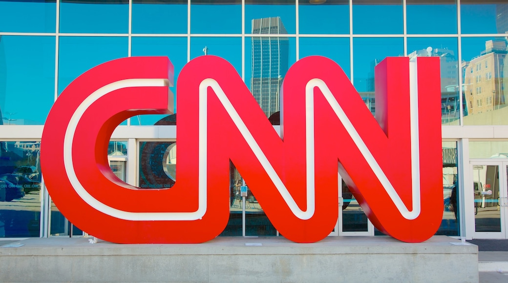 CNN Center featuring a city, signage and city views