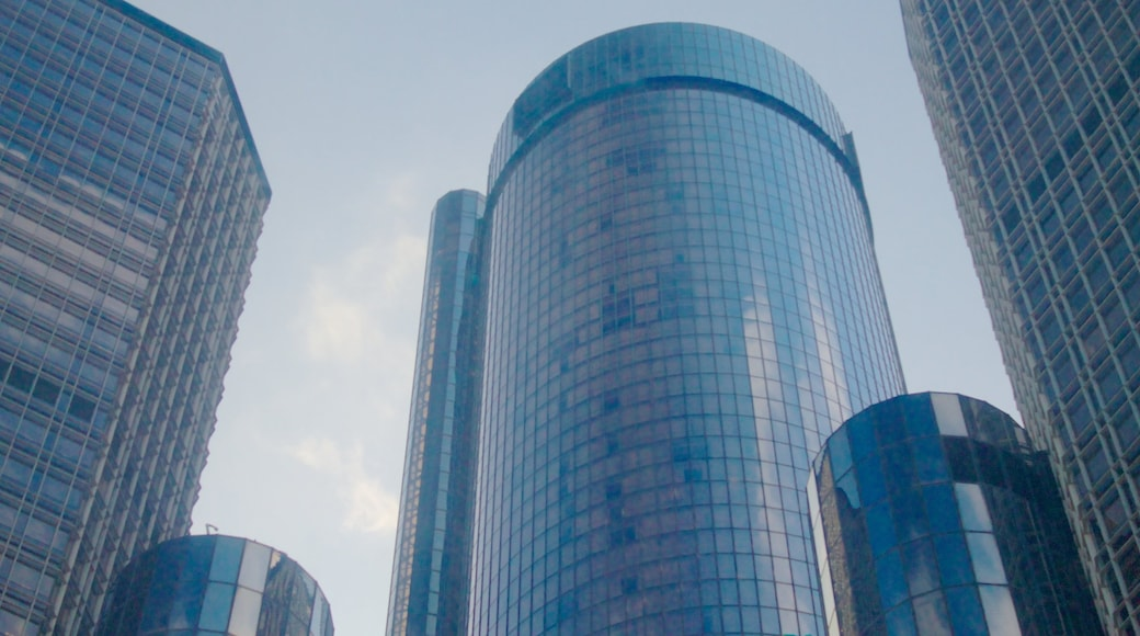 GM Renaissance Center showing a high rise building, modern architecture and city views