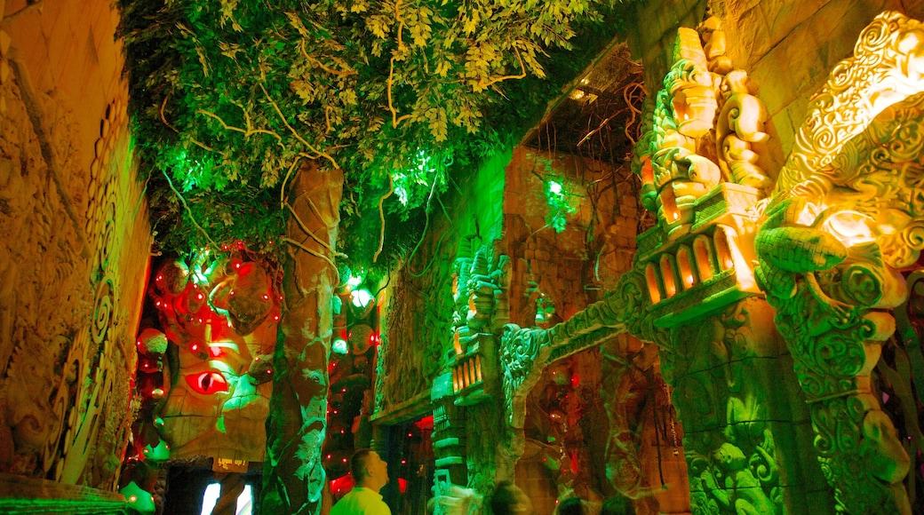 Phuket Fantasea montrant balades, scènes de nuit et art