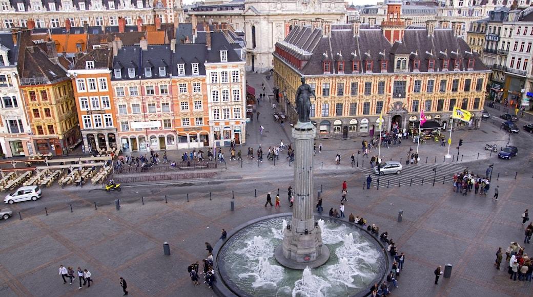 Lille inclusief een fontein, kunst in de open lucht en een plein