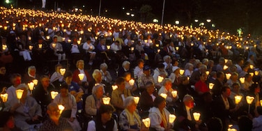 Lourdes showing night scenes and performance art as well as a large group of people