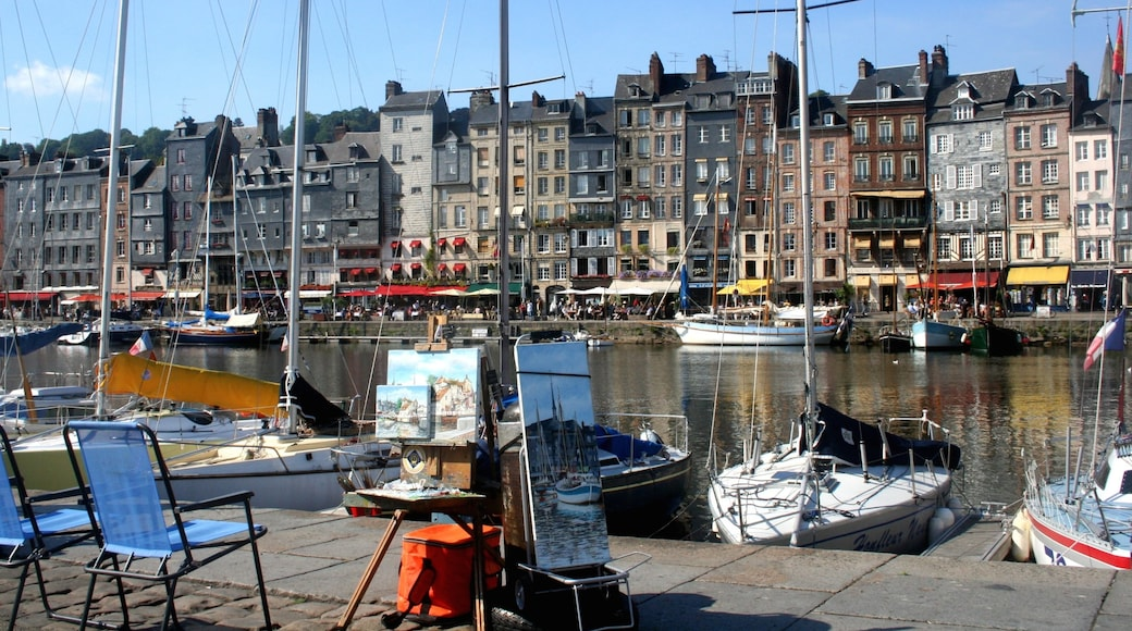Honfleur mettant en vedette baie ou port, ville côtière et navigation