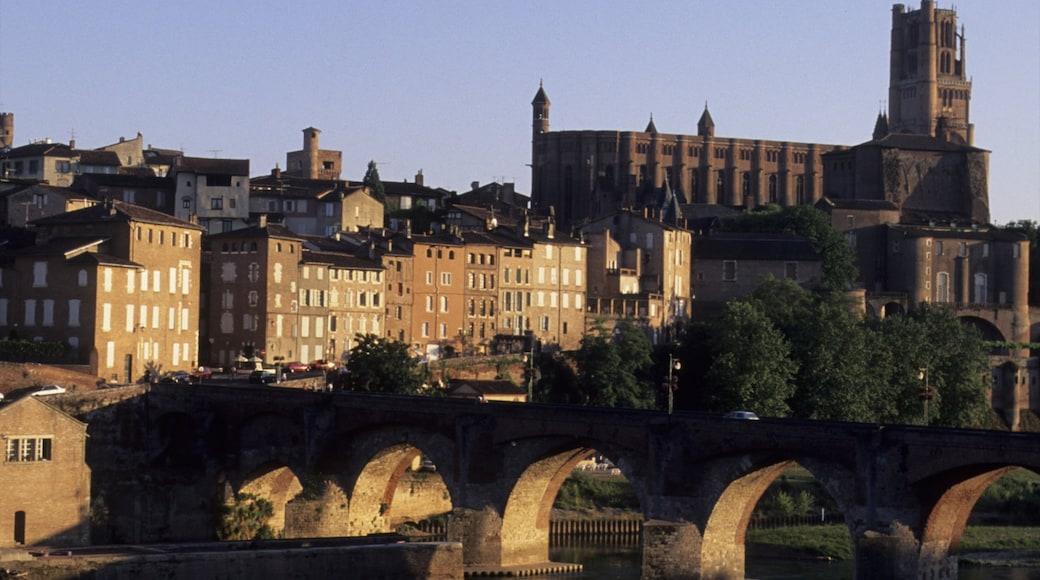 Albi mettant en vedette église ou cathédrale, ville et pont