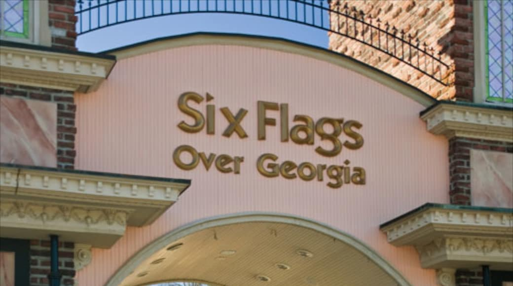 Six Flags Over Georgia showing signage and rides