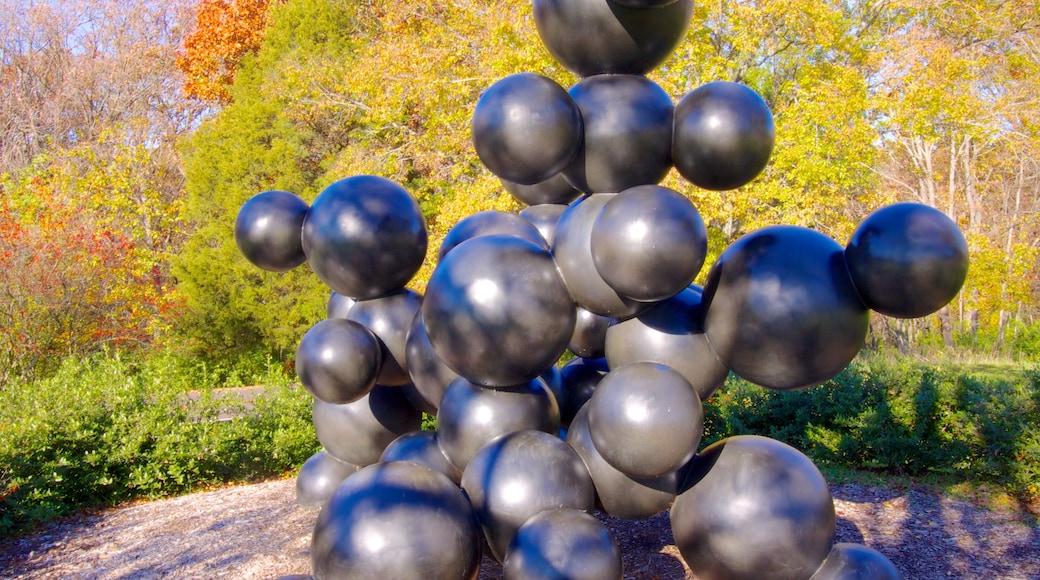 Laumeier Sculpture Park showing autumn leaves, a park and outdoor art