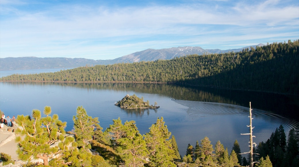 Emerald Bay State Park which includes a lake or waterhole, forests and landscape views