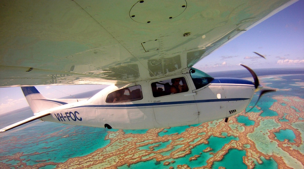 Great Barrier Reef which includes colourful reefs and aircraft