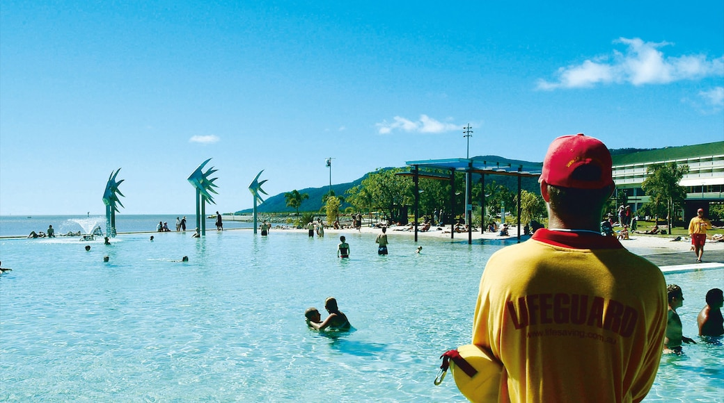 Cairns Esplanade showing swimming and a pool as well as an individual male